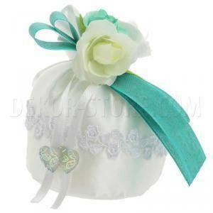 portaconfetti base tondo 8x13 cm in raso con macrame fiore - bianco