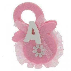 portaconfetti 7,5 x 10,5 a forma di ciuccio in feltro - rosa