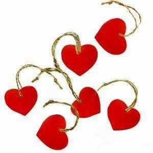 set 6 cuori in legno 4 cm con cordino - rosso