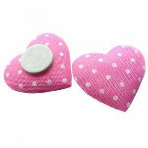 cuore in raso 2,5 cm (cf 18 pz) rosa e pois bianco con biadesivo