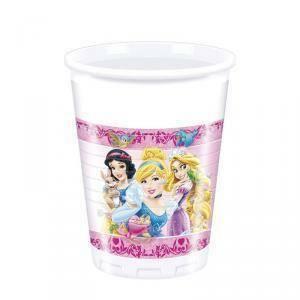 disney bicchiere plastica 200 ml principesse e animali - 8 pezzi
