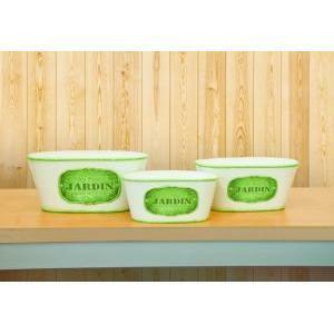 ciotola latta ovale jardin set 3pz h.10,5 l.24x14 - green