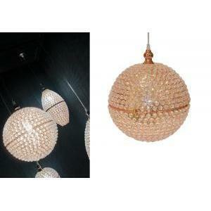 lampadario sfera con cristalli d.30 cm - oro rosa