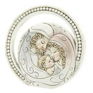 icona cerchio sacra famiglia - resina - diam. 6,5 cm