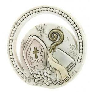 icona cerchio in resina per cresima - diametro 6,5 cm