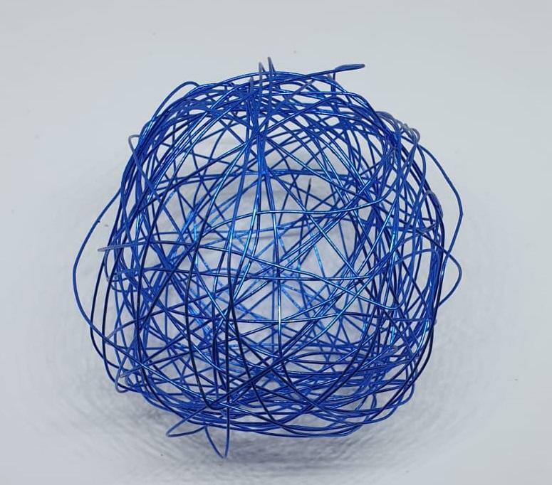 eurosand sfera filo metallico blu 80 mm