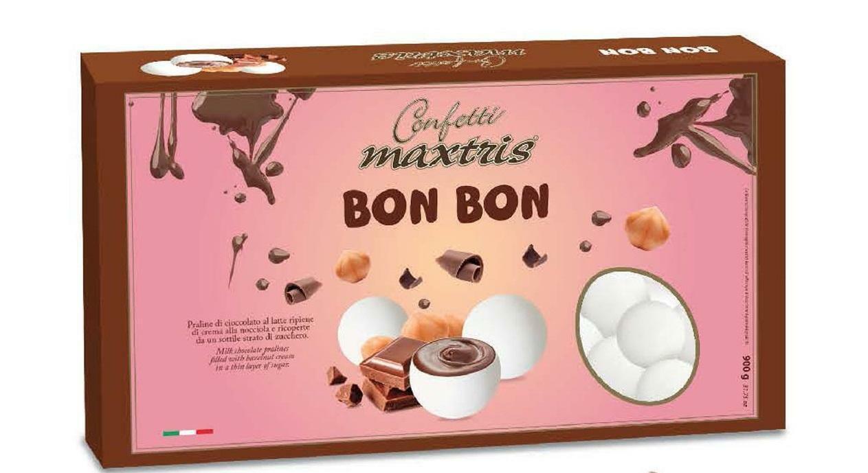 maxtris confetti maxtris bon bon ripieni alla crema di nocciola - 900 gr bianco
