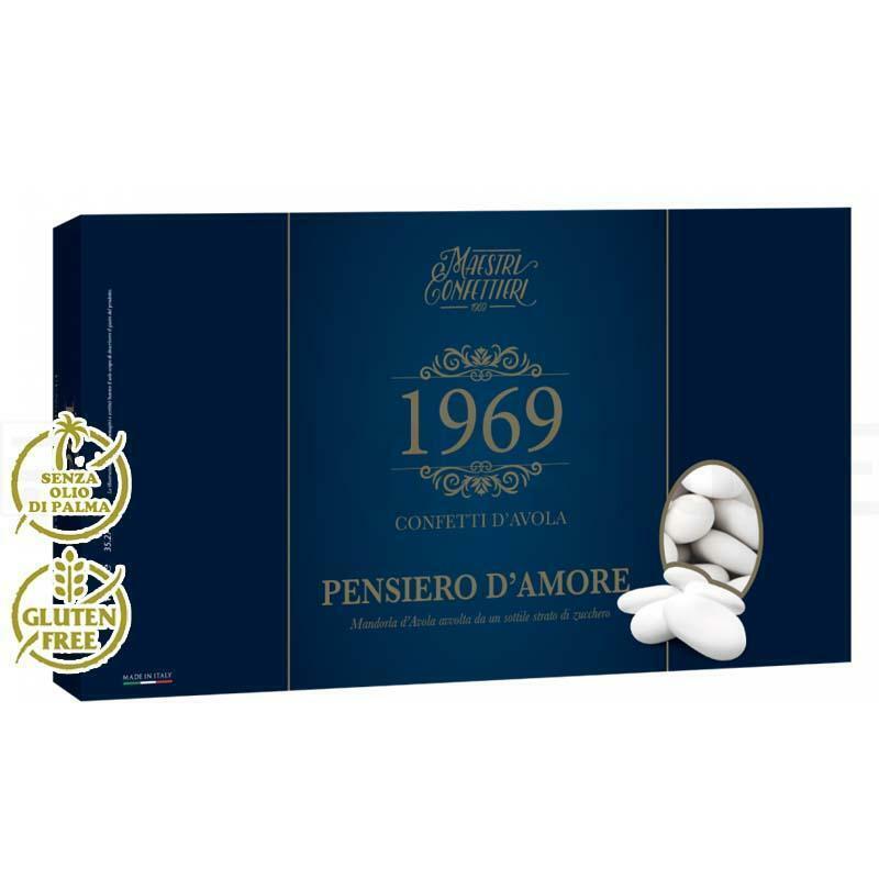 maxtris confetti maxtris mandorla avola pensiero d'amore - 1 kg bianco calibro 38