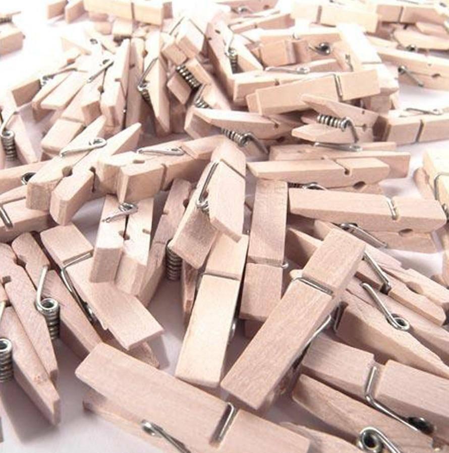 mollette in legno 35 mm x 100 pz - naturale