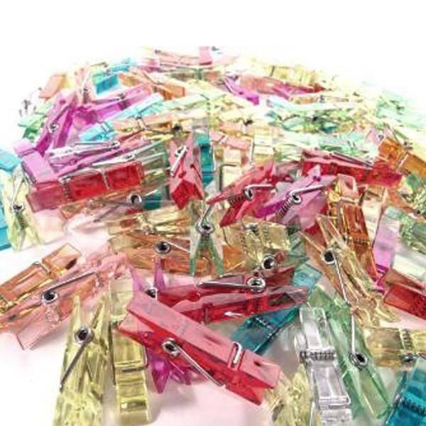 rgb mollette in plastica trasparenti 35 mm colori assortiti - 100 pz