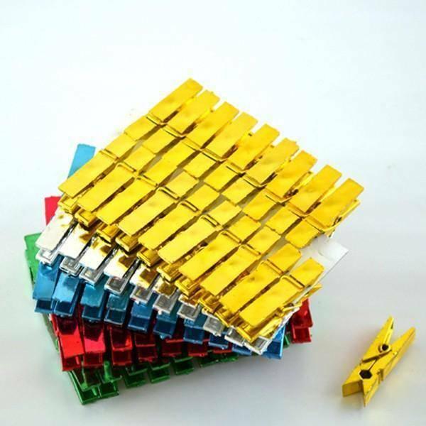 rgb mollette in plastica metallizzate 35 mm colori assortiti - 100 pz