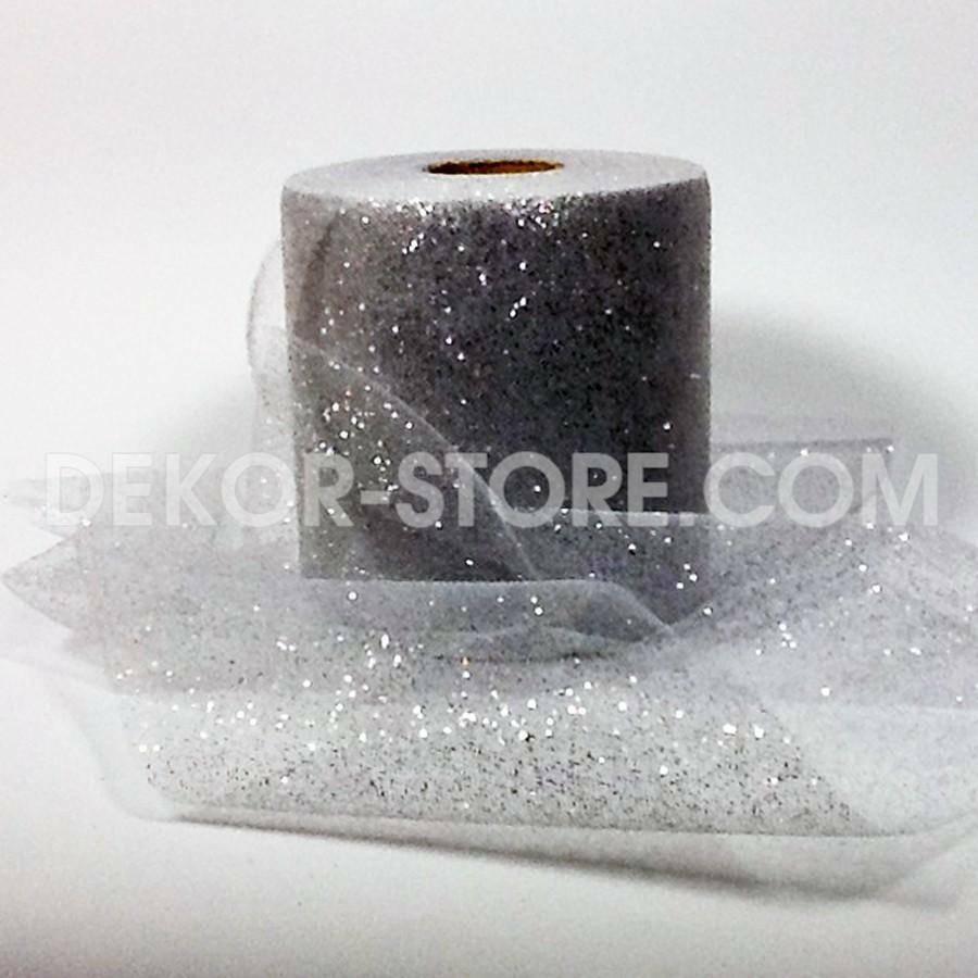 rgb tulle glitter argento - 12,5 cm x 100 mt