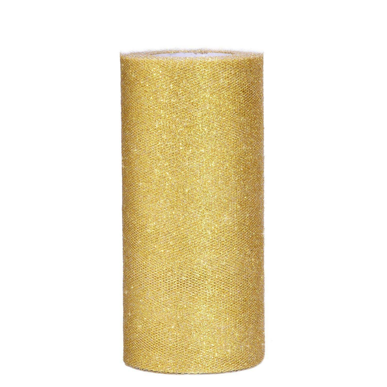 rgb tulle glitter oro - 25 cm x 100 mt