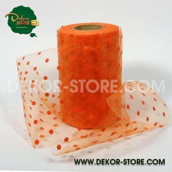 rgb tulle pois arancio - 12,5 cm x 25 mt