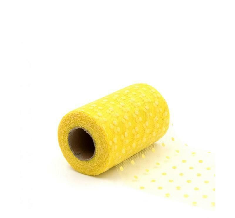 rgb tulle pois giallo - 12,5 cm x 25 mt