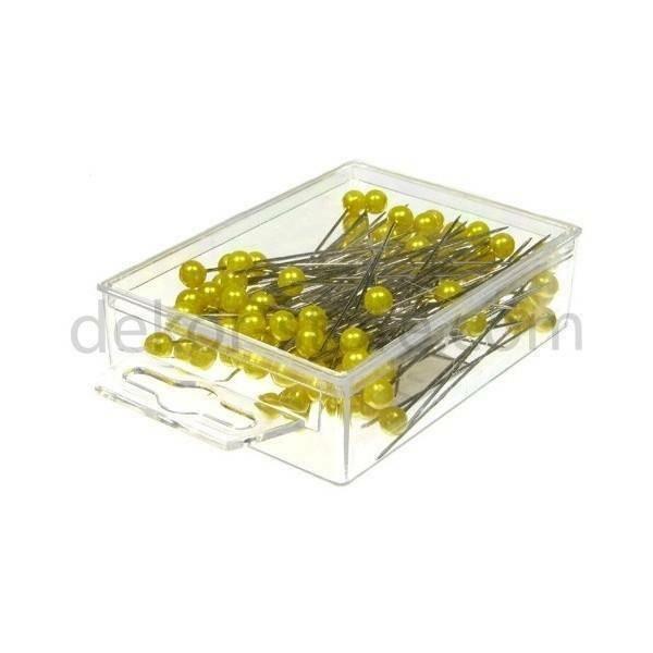 spilli con testa di perla giallo 6 mm x 65 mm - 100 pz.