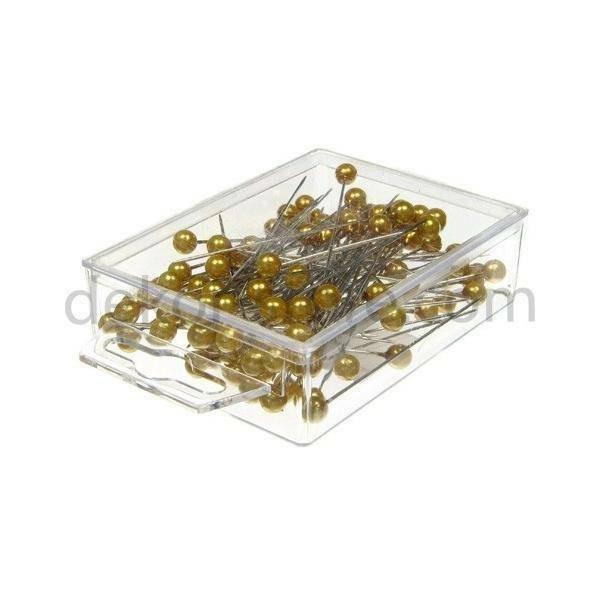 spilli con testa di perla oro 10mm x 60 mm - 50pz