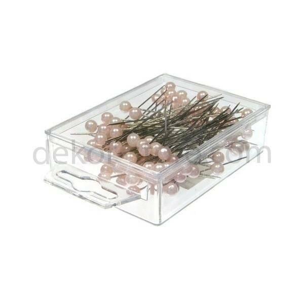 spilli con testa di perla rosa 10mm x 60 mm - 50pz