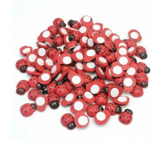 coccinelle rosse in legno 13 mm con biadesivo - 120 pz
