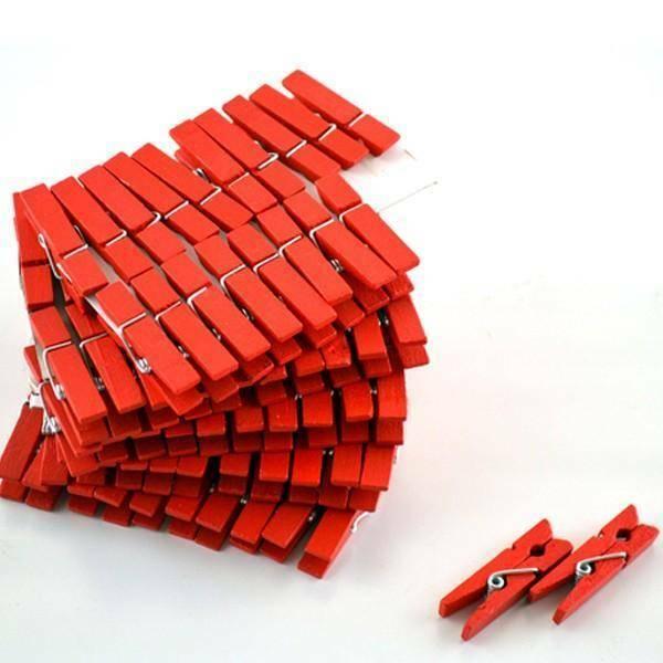 ghisi walter mollette in legno 35 mm rosso - 100 pz