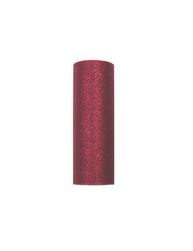rgb tulle glitter bordeaux - 25 cm x 100 mt