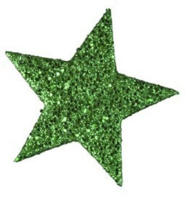 eurosand stelle decorative 6 cm  glitter verde - 12 pz