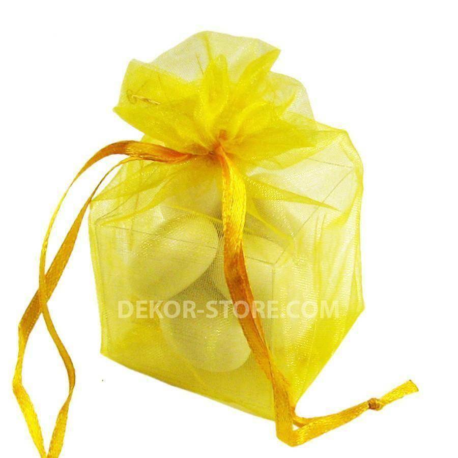 sacchetto giallo in organza con cubo 4x4x4cm - porta confetti o riso