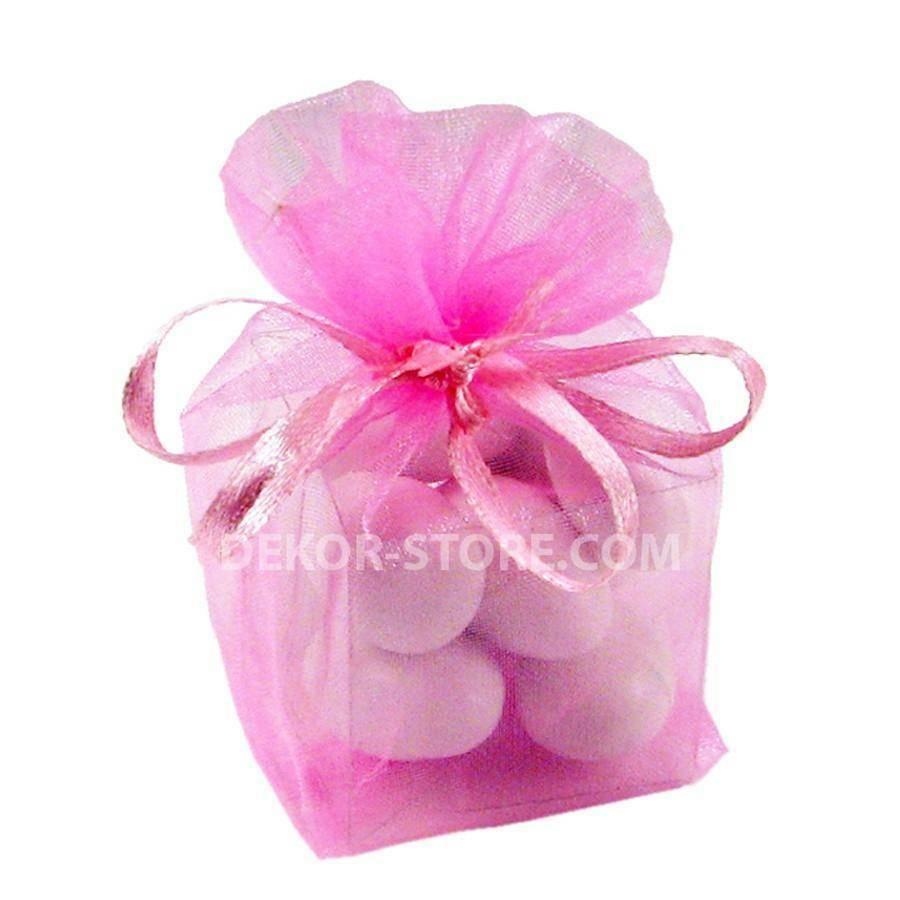 giovinazzo sacchetto in organza rosa con cubo in pvc - 4 x 4 x 4 cm