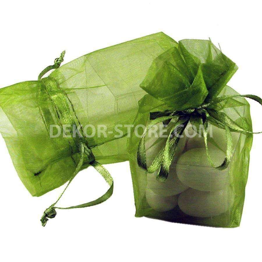 giovinazzo sacchetto in organza verde con cubo in pvc - 4 x 4 x 4 cm