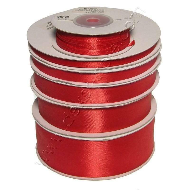 doppio raso 6 mm rosso x 50 mt - satinato