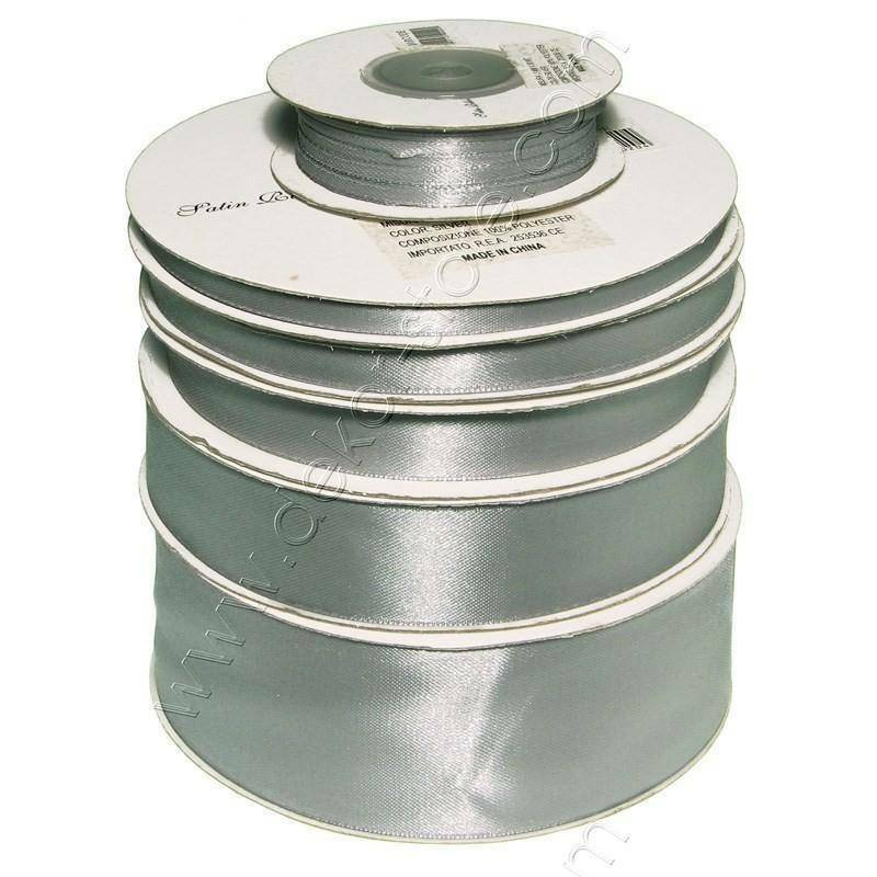 doppio raso 10 mm argento x 50 mt - satinato