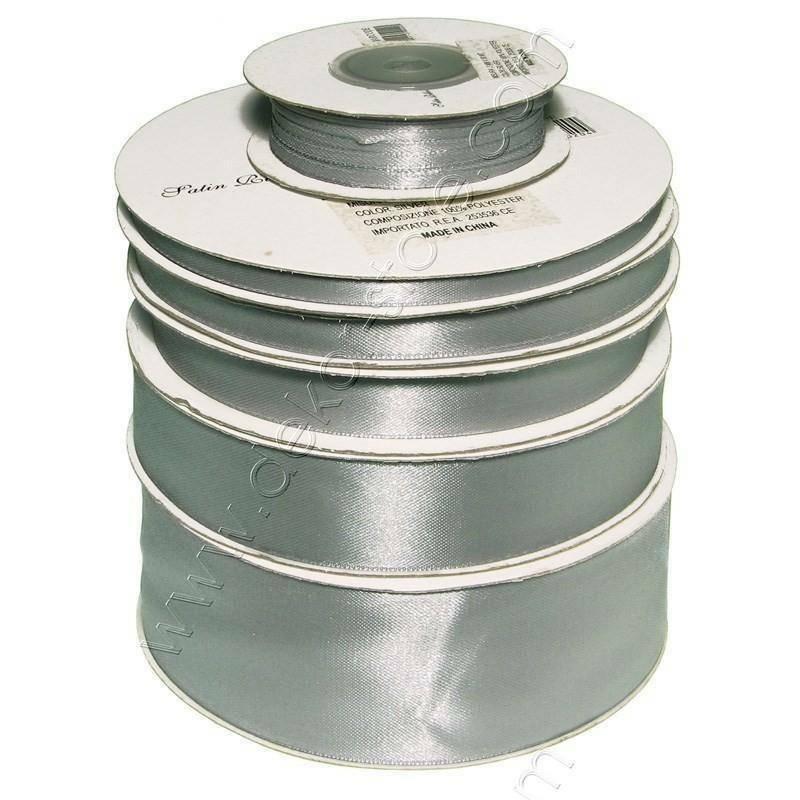 doppio raso 25 mm argento x 50 mt - satinato