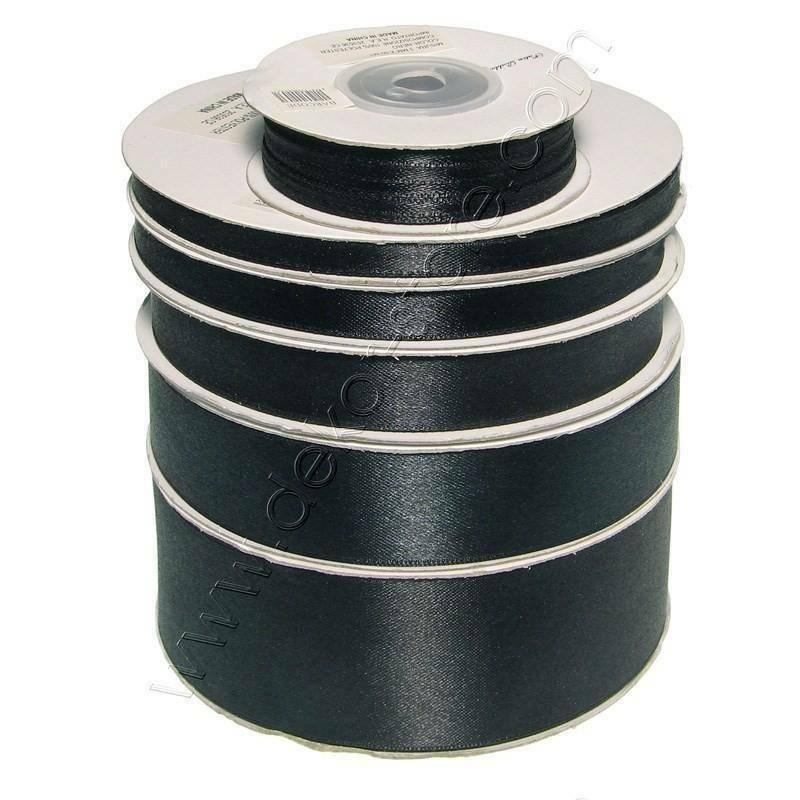 doppio raso 25 mm nero x 50 mt - satinato