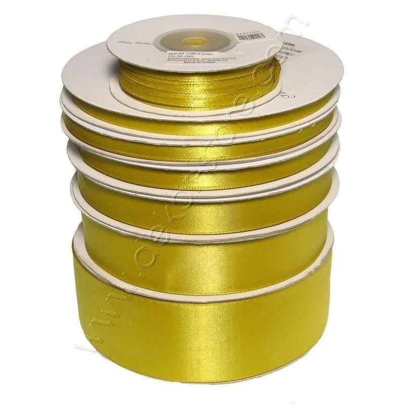 doppio raso 25 mm oro x 50 mt - satinato