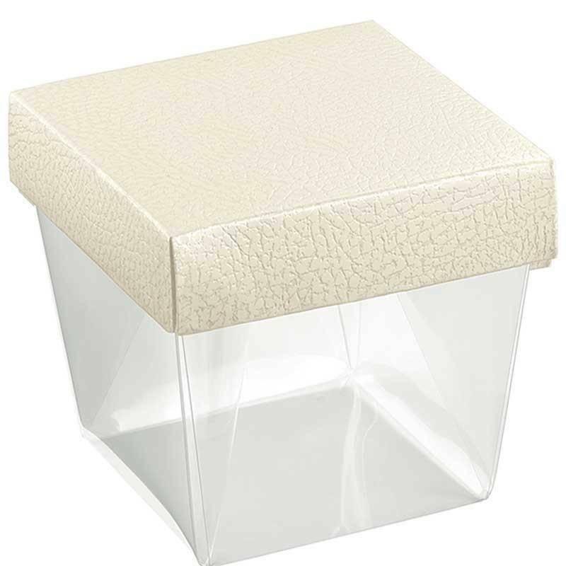 scotton spa scotton spa coppetta 100x100x115mm pvc trasparente - pelle bianca