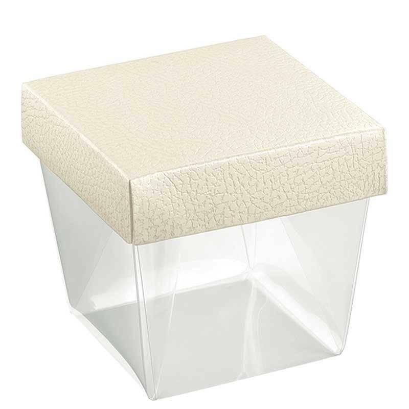 scotton spa coppetta in pvc trasparente pelle bianco 75x75x90 mm - 4 pz
