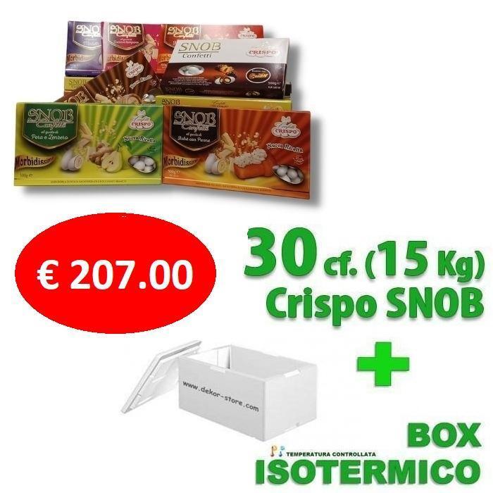 crispo kit risparmio confetti crispo snob 15 kg / 30 conf. 500gr gusti personalizzati - per 140/180 invitati