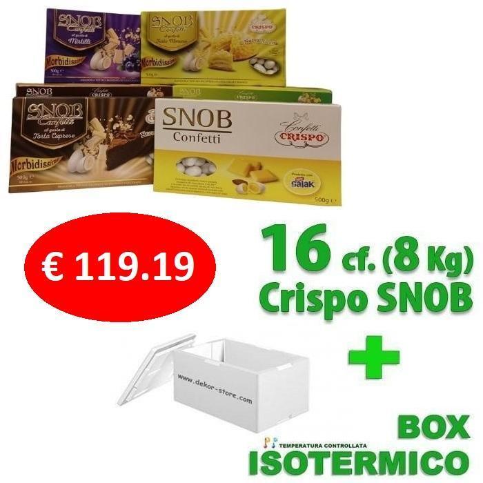 crispo kit risparmio confetti crispo snob 8 kg / 16 conf. 500gr gusti personalizzati - per 75/110 invitati