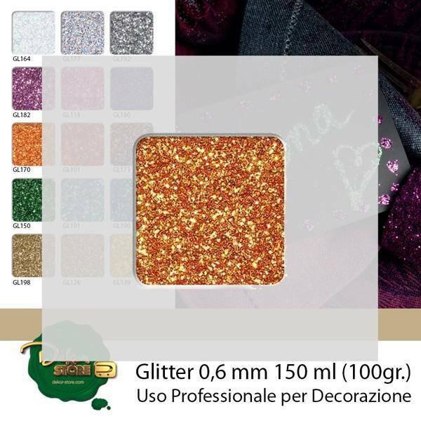eurosand glitter 0,6 mm arancio in bottiglia - 100 gr