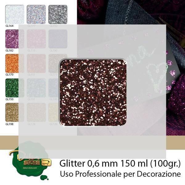 eurosand glitter 0,6 mm marroni in bottiglia - 100 gr