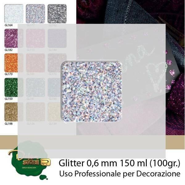 eurosand glitter 0,6 mm argento in bottiglia - 100 gr