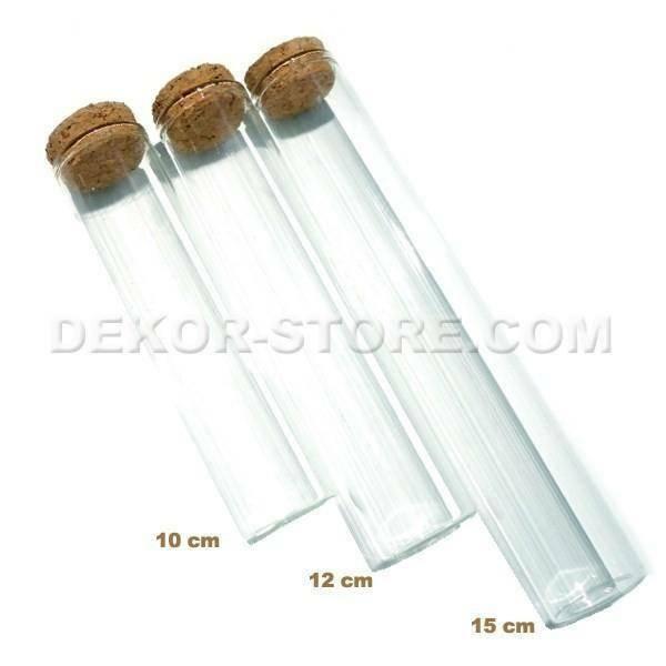 provetta 10 cm in vetro con tappo in sughero - trasparente
