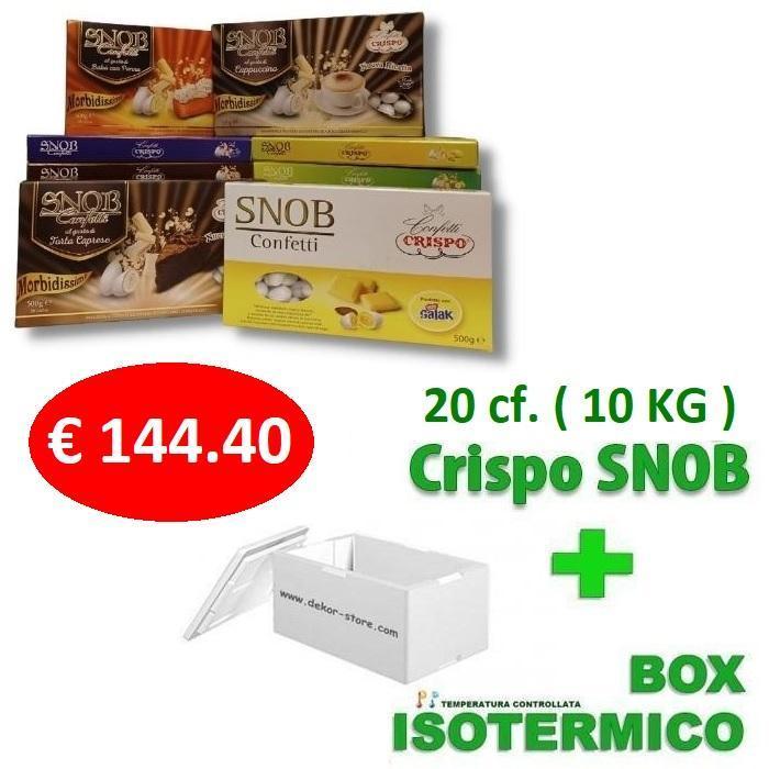 crispo kit risparmio confetti crispo snob 10 kg / 20 conf. 500gr gusti personalizzati - per 90/130 invitati
