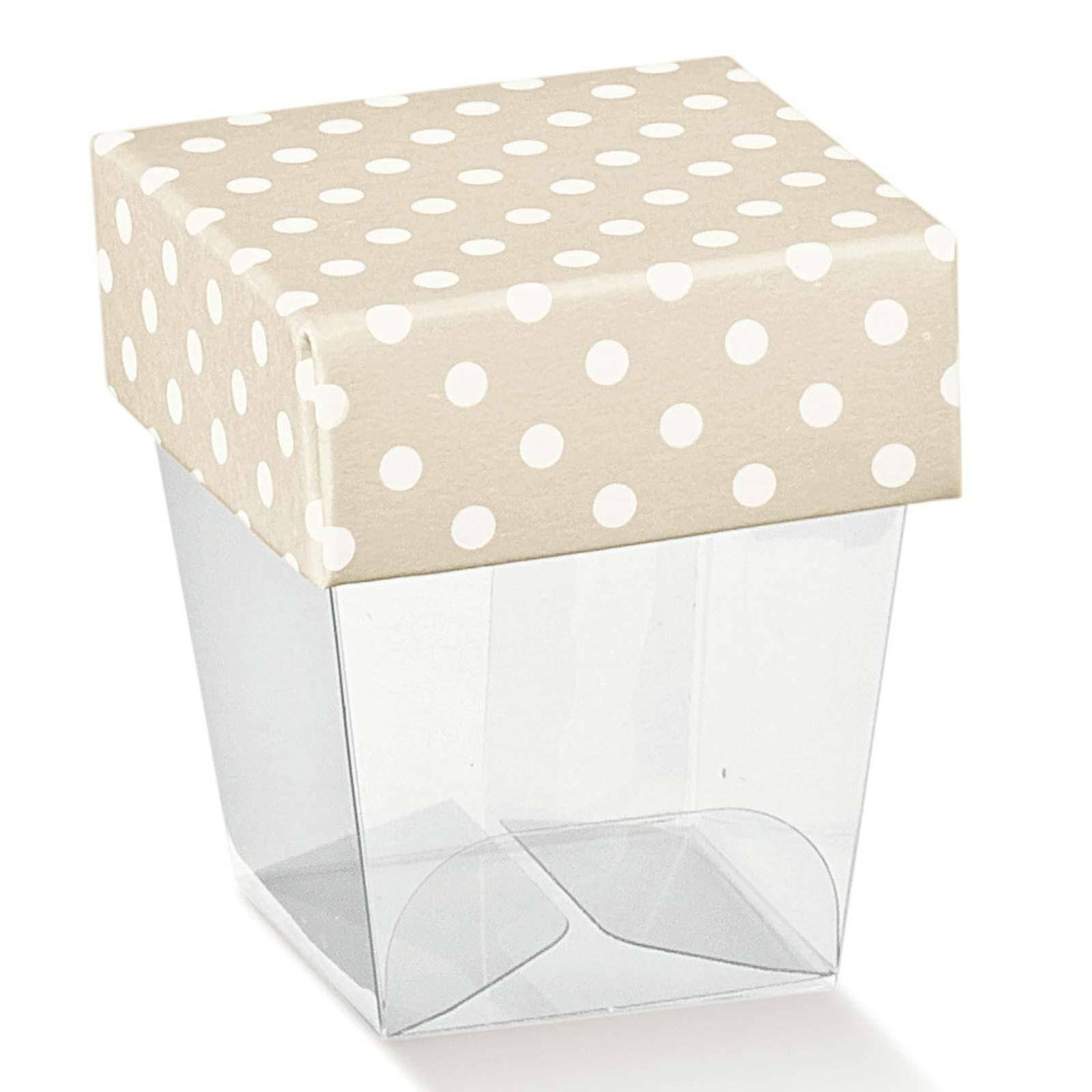 scotton spa bicchierino in pvc trasparente con coperchio atelier tortora 33x33x50 mm - 10 pz