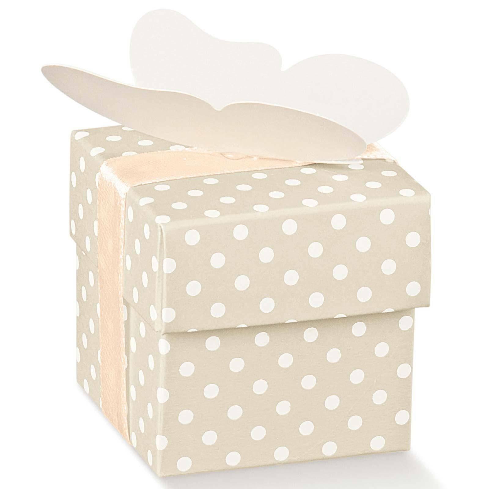 scotton spa scatolina porta confetti fondo e coperchio atelier tortora 50x50x50 mm - 10 pz