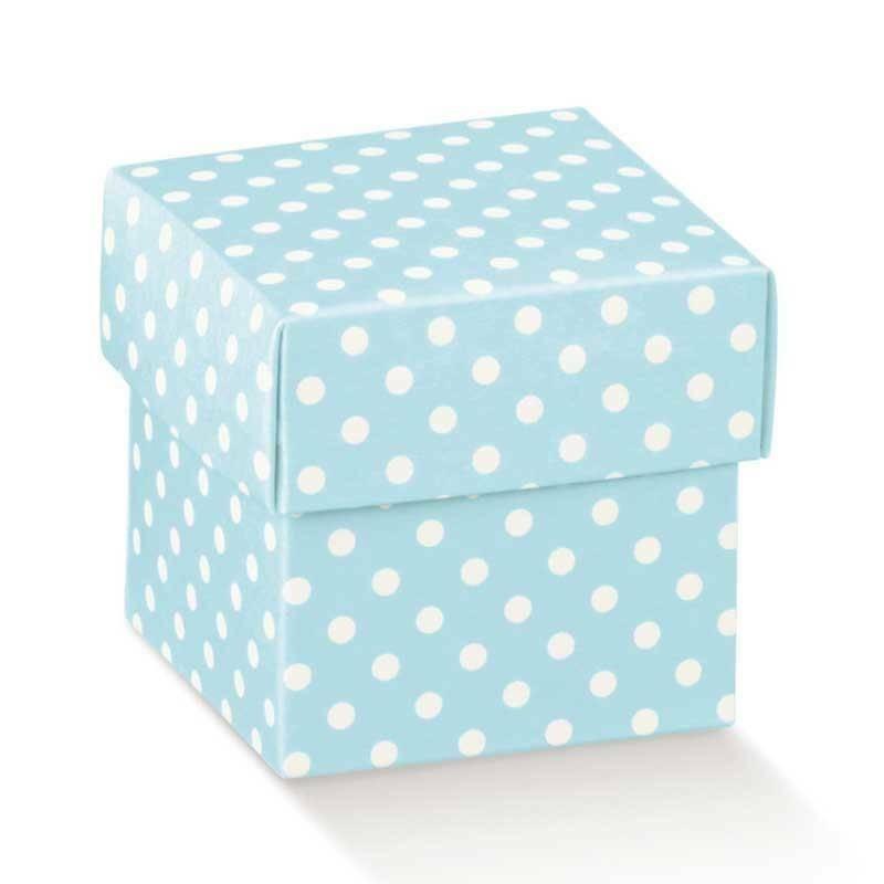 scotton spa scatolina porta confetti fondo e coperchio atelier azzurro 50x50x50 mm - 10 pz