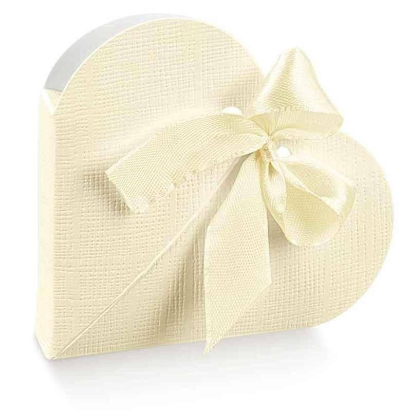 scotton spa scotton spa portaconfetti 65x65x15mm a forma di cuore cartoncino - seta avorio
