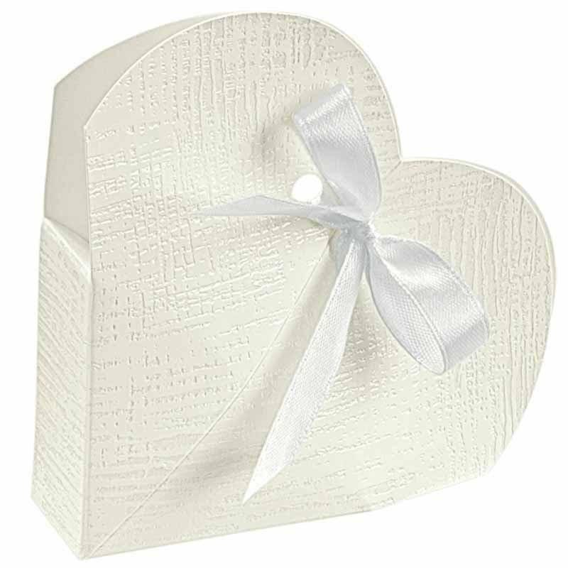 scotton spa scotton spa portaconfetti 50x50x25 mm a forma di cuore in cartoncino - tela bianco