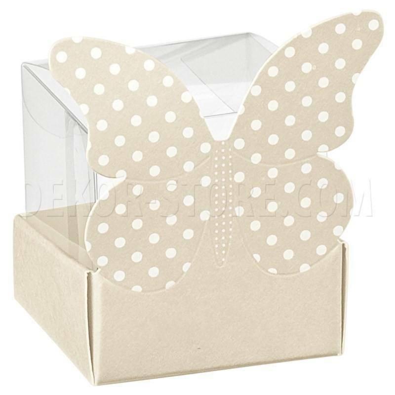 scotton spa cestello porta confetti con farfalla atelier tortora 40x40x65 mm - 5 pz