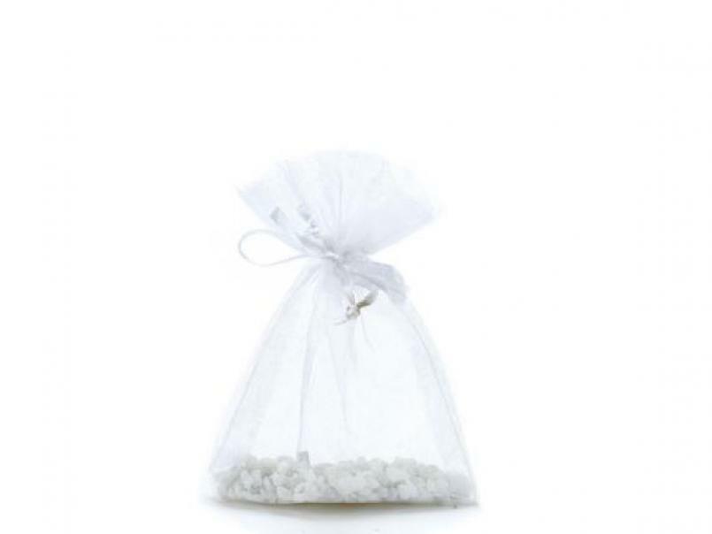 sacchetto in organza bianco - 9 x 11 cm